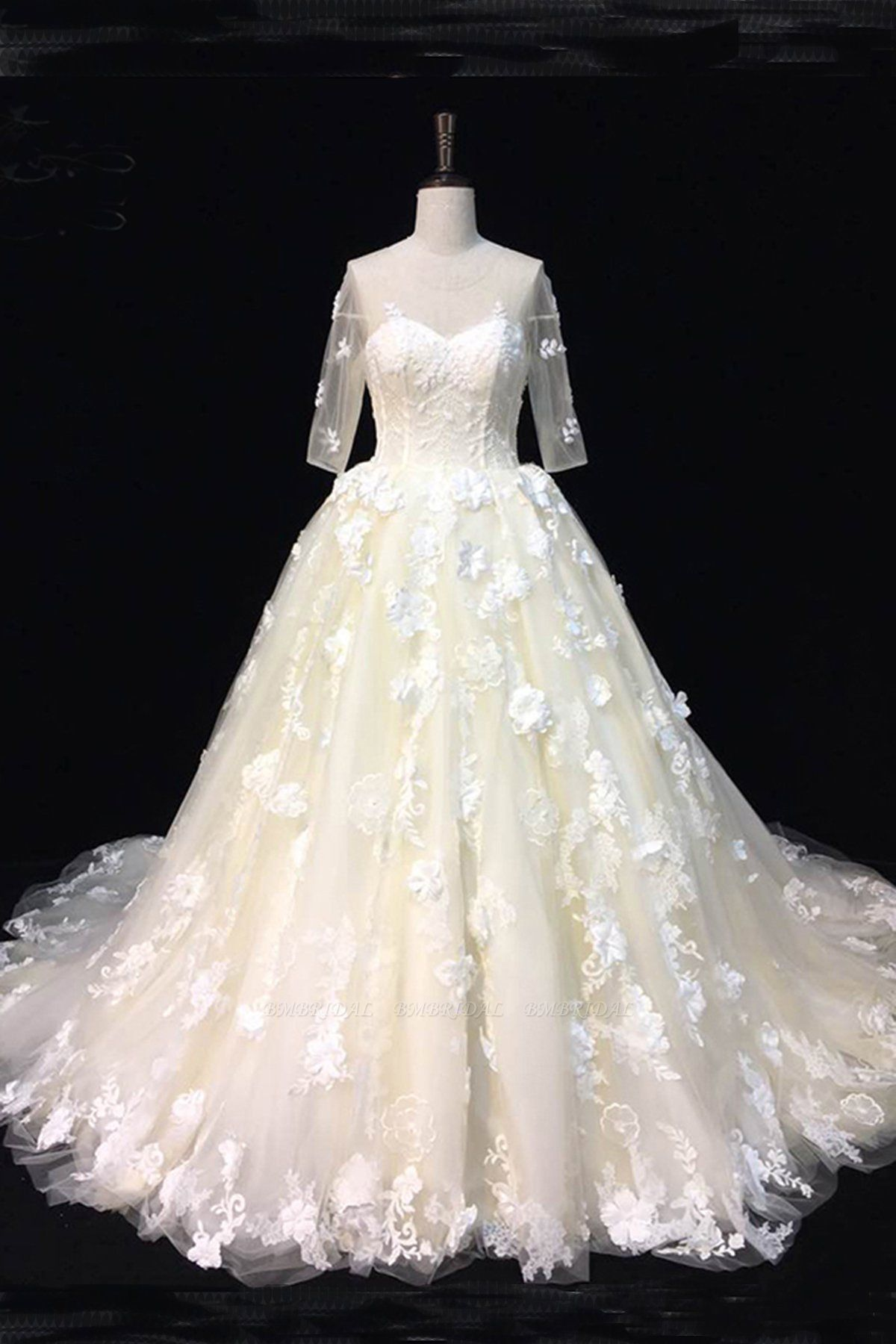 BMbridal AffordableBeautiful Ivory Lace Sweep Train Wedding Dresses Half Sleeves Appliques Bridal Gowns On Sale