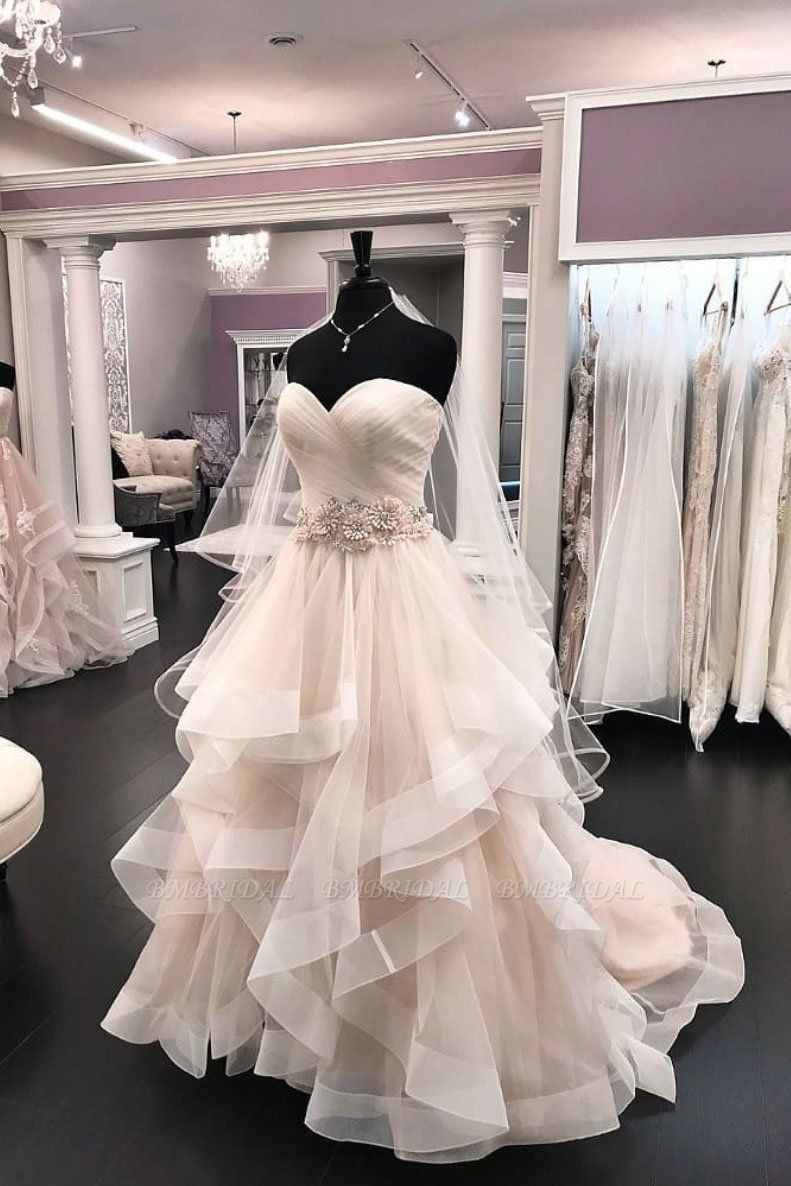 Elegant 2020 Creamy Tulle Sweetheart Wedding Dress Beaded Waistline Bridal Gowns On Sale