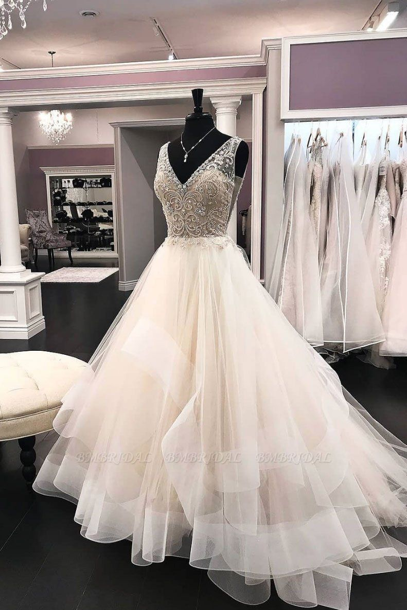 BMbridal Chic Tulle V-Neck Sequins Wedding Dress Sweep Sleeveless Rhinestones Bridal Gowns On Sale