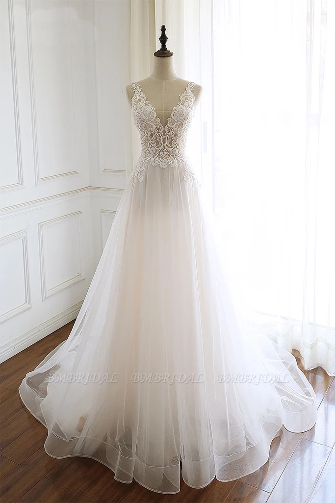 Gorgeous White Tulle Lace Long Wedding Dress Sleeveless Custom Size Bridal Gowns On Sale