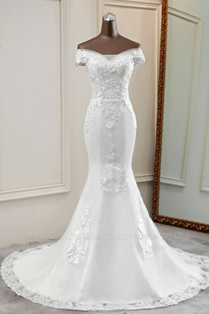 BMbridal Elegant Off-the-Shoulder Sleeveless White Mermaid Wedding Dresses with Beadings