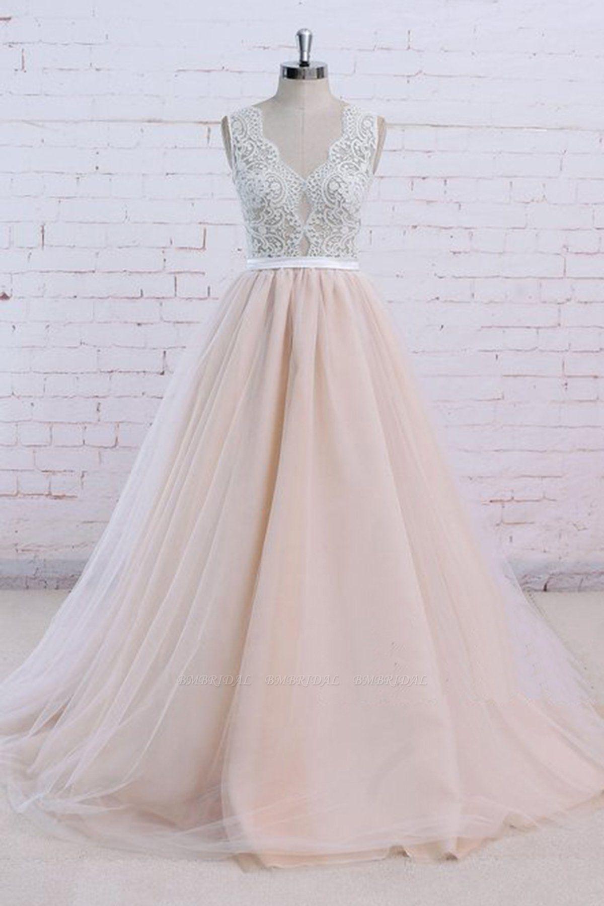 AffordableBlush Pink Tulle Wedding Dress Ivory Lace V-Neck Vintage Bridal Gowns On Sale