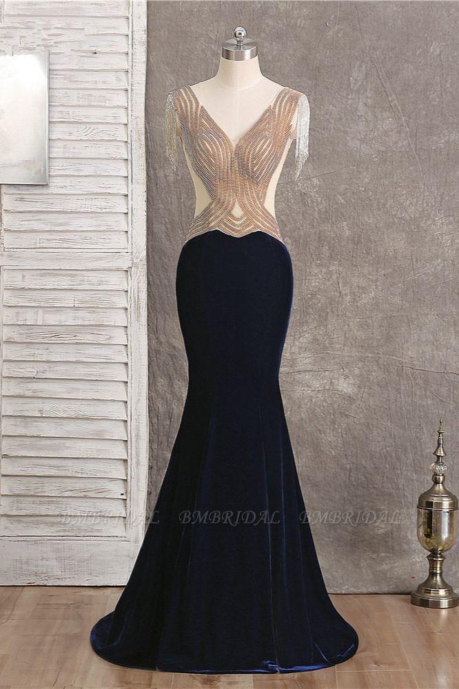 BMbridal Chic V-Neck Mermaid Black Prom Dresses Sleeveless Beadings with Tassels Online