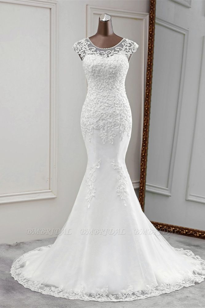 Gorgeous Jewel Sleeveless White Lace Mermaid Wedding Dresses with Appliques
