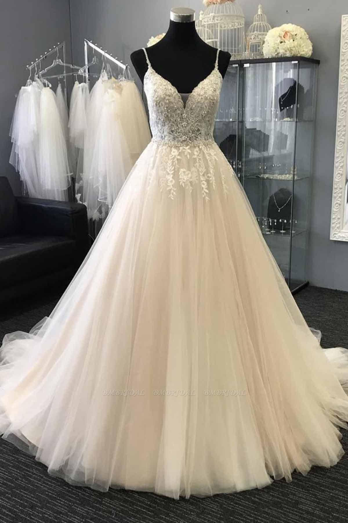 Gorgeous Sweetheart Lace Top White Long Wedding Dress Spaghetti Straps Sleeveless Bridal Gowns On Sale
