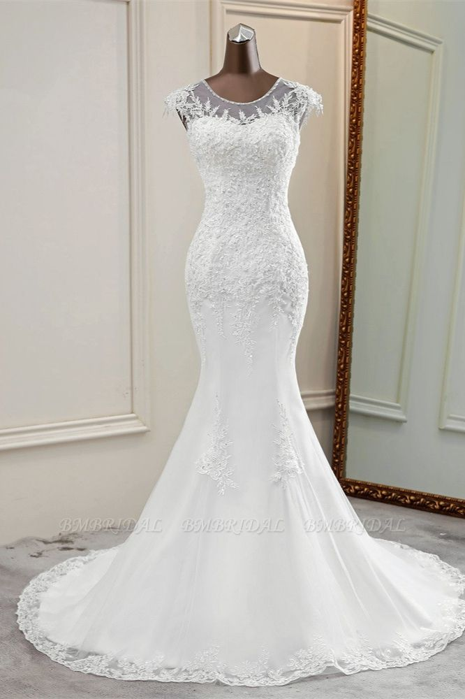 Elegant Jewel Sleeveless White Lace Mermaid Wedding Dresses with Rhinestone Appliques