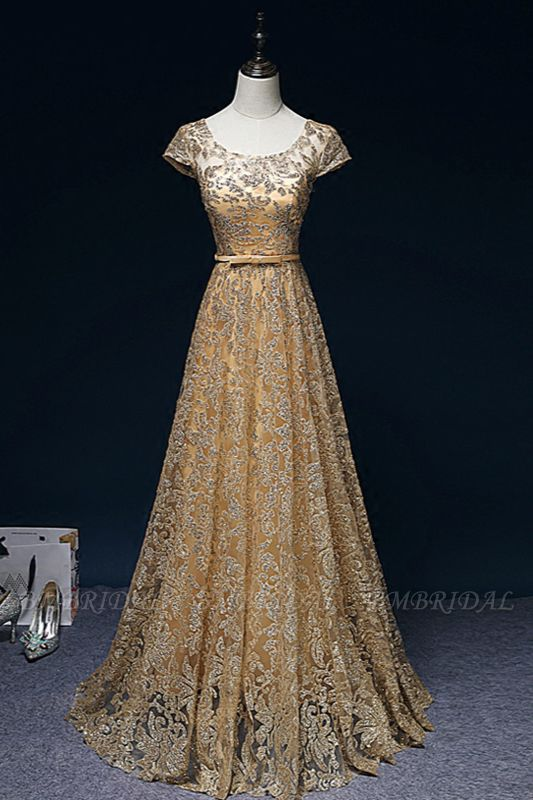 BMbridal Gorgeous Tulle Lace Jewel Gold Prom Dresses Short Sleeves Appliques A-Line Formal Dresses