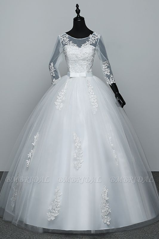 BMbridal Gorgeous Jewel Tulle Lace White Wedding Dresses 3/4 Sleeves Appliques Bridal Gowns On Sale