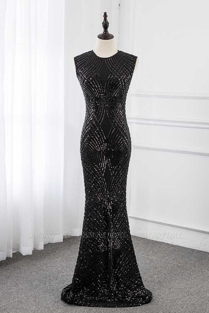 BMbridal Gorgeous Jewel Sleeveles Black Mermaid Prom Dresses with Beadings