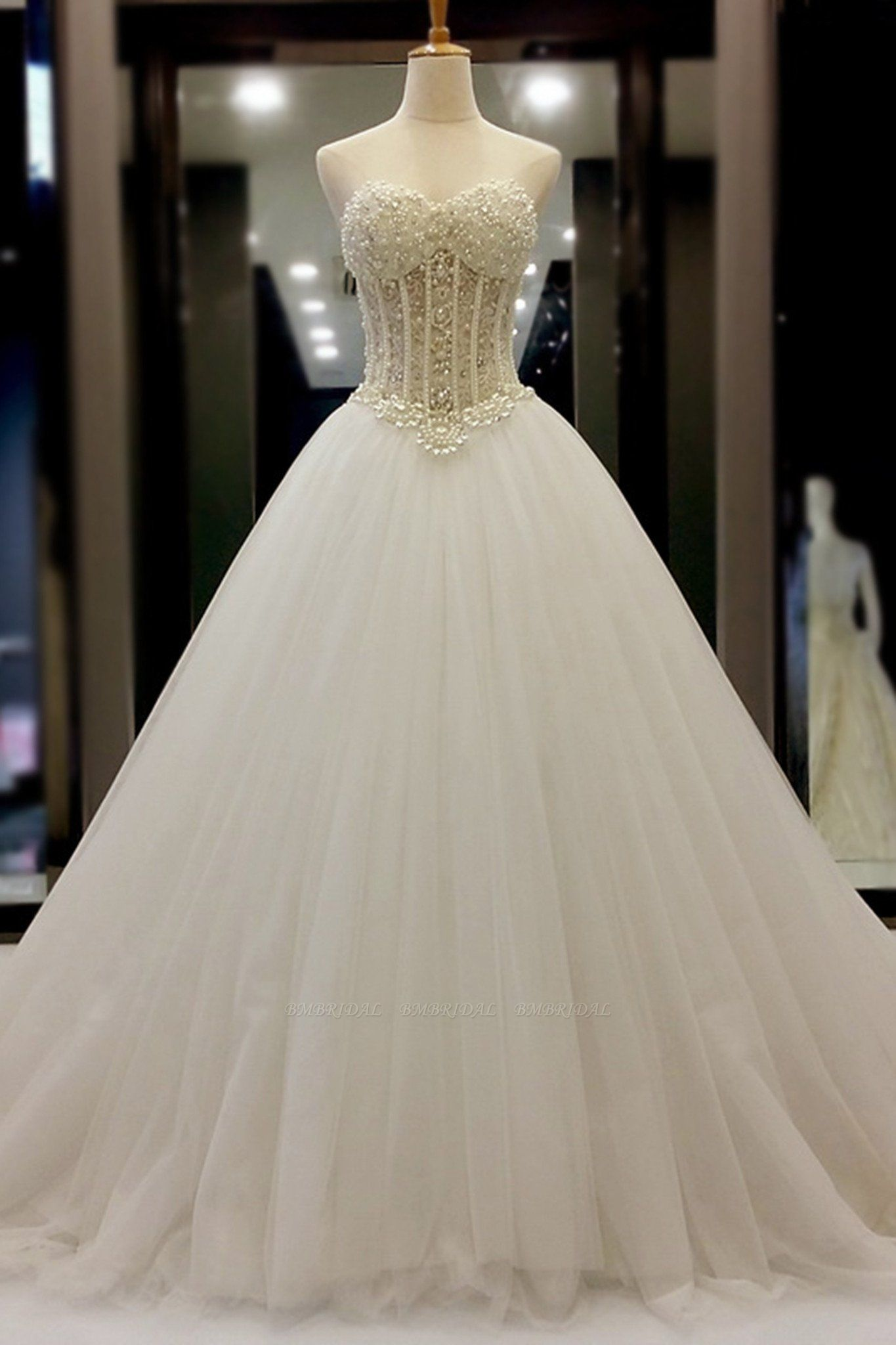 BMbridal AffordableWhite Organza Pearl A-Line Wedding Dresses Sweetheart Beading Bridal Gowns On Sale