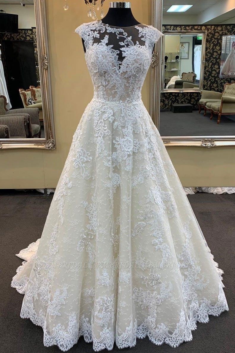 BMbridal Chic Ivory Lace Round Neck Long Wedding Dress Cap Sleeve Sweep Train Bridal Gowns On Sale