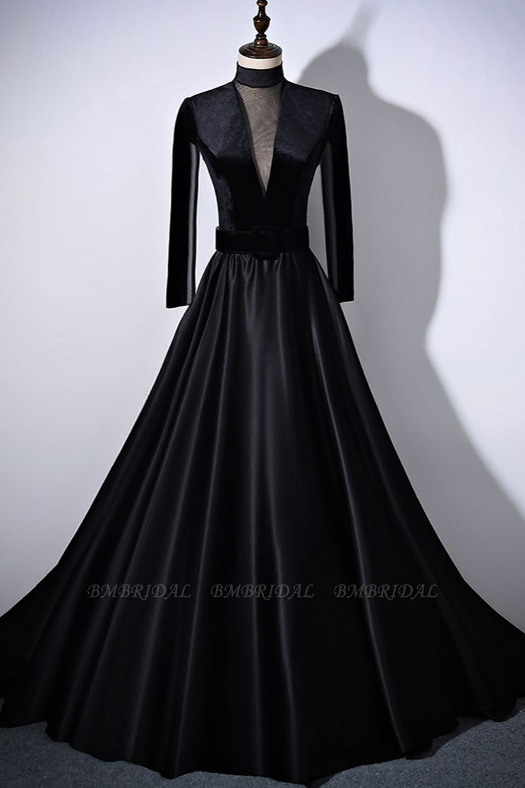 BMbridal Chic V-Neck Ruffles Black A-Line Prom Dresses Long Sleeves Evening Dresses with Sash