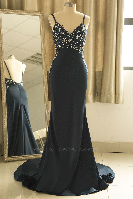 Affordable Spaghetti Straps V-Neck Prom Dresses Sleeveless Appliques Beadings Party Dresses Online