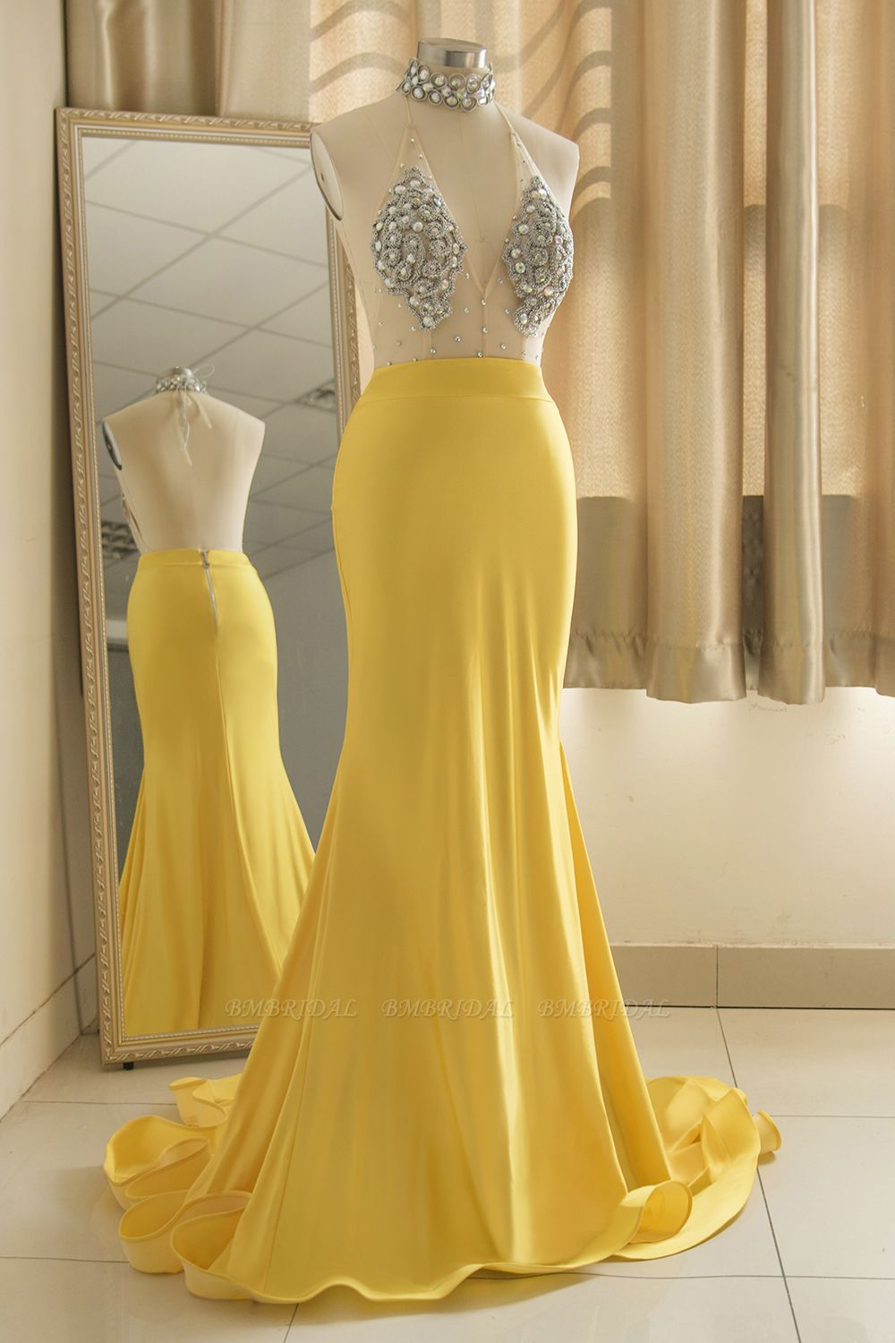 Sexy Yellow Halter Backless Prom Dress Long Mermaid With Crystals
