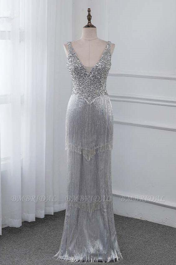 BMbridal Chic V-Neck Sleeveless Mermaid Prom Dresses with Beadings Top