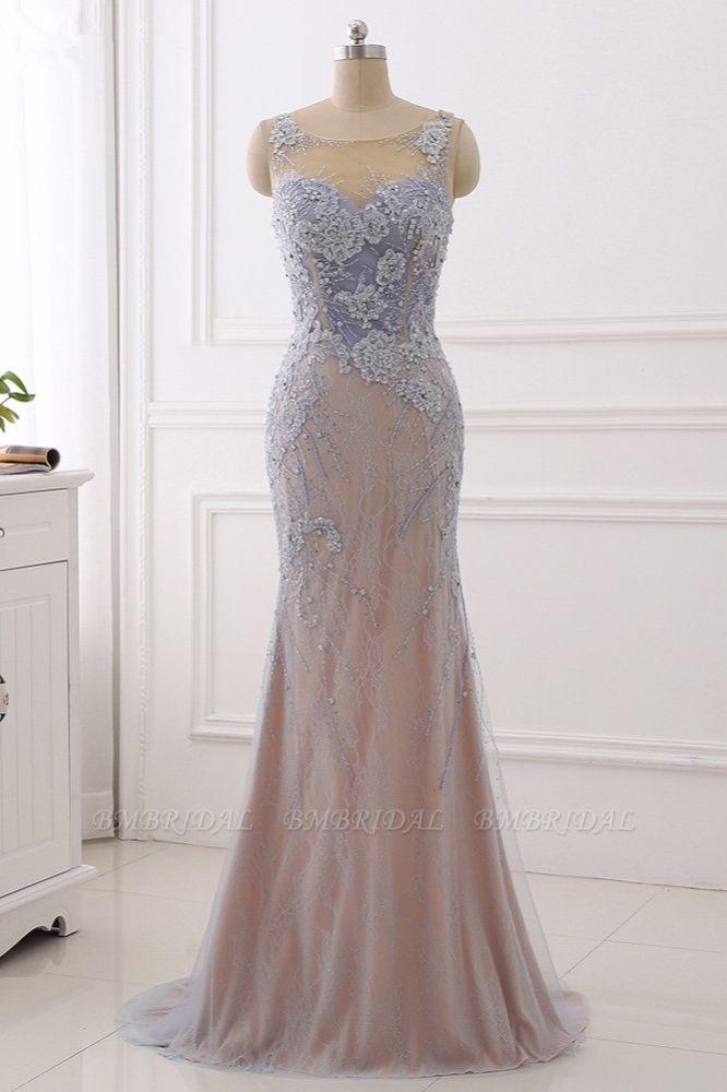 BMbridal Elegant Jewel Sleeveless Mermaid Prom Dresses Pearls with Appliques Online