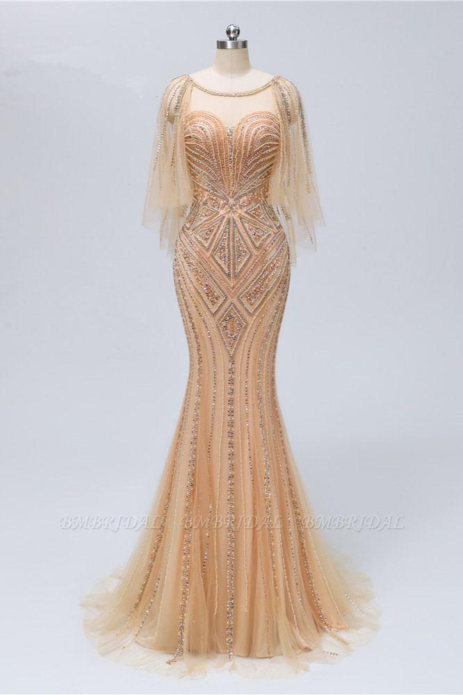 Elegant Tulle Beadings Gold Mermaid Prom Dresses Short Sleeves Rhinestones Evening Dresses Online