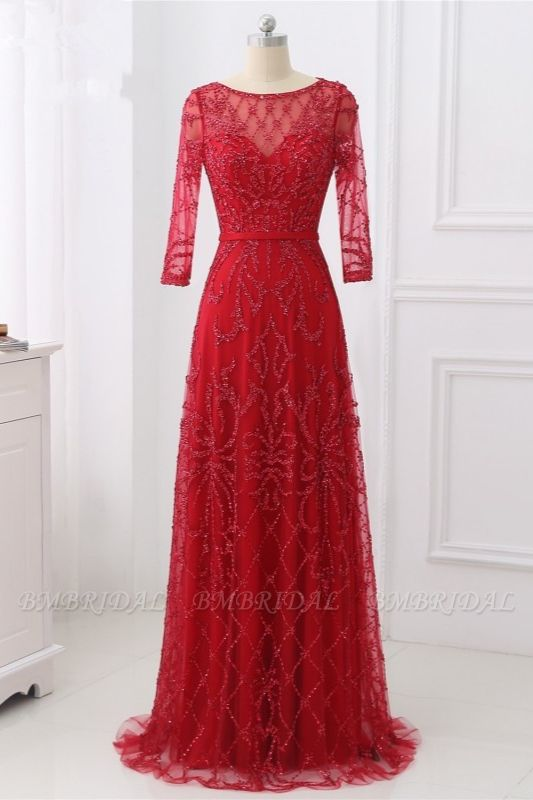 Glamorous Red Tulle Jewel Appliques Prom Dresses Long Sleeves with Rhinestones On Sale