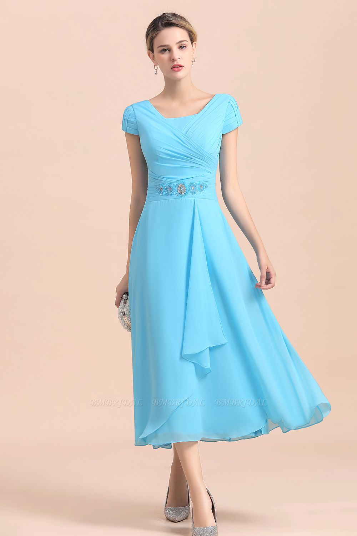 BMbridal Blue Short Sleeves Chiffon Mother of the Bride Dress Tea-Length Online