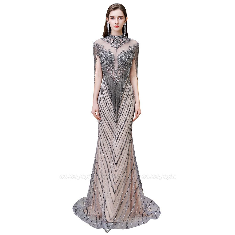 BMbridal Luxurious Crystal Beadings Mermaid Prom Dress Long On Sale