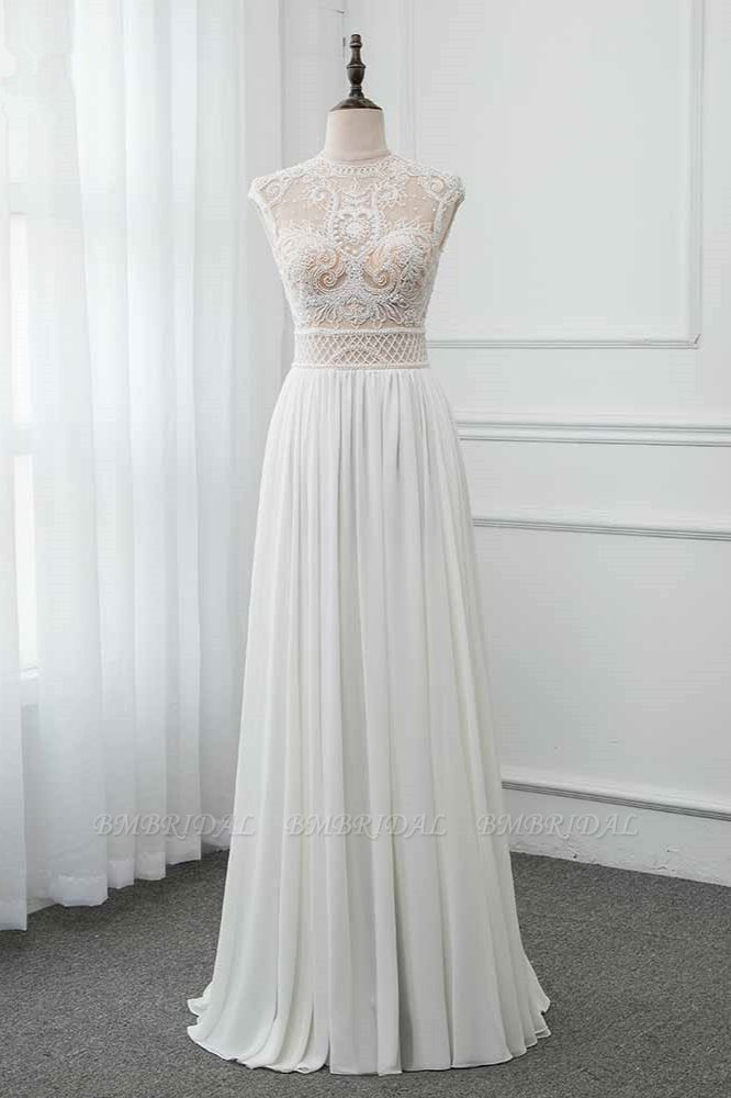 BMbridal Chic Jewel Chiffon Ruffle White Wedding Dresses Lace Top Sleeveless Bridal Gowns with Pearls