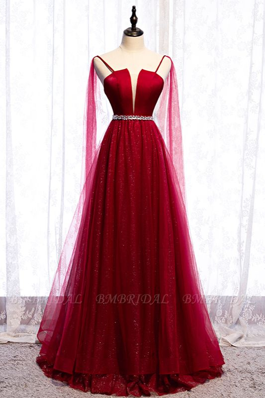 Stunning Spaghetti Straps Tulle Burgundy Prom Dresses V-Neck Sleeveless Sequins Evening Dresses Online