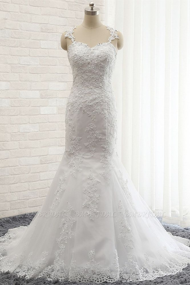 BMbridal Elegant Straps Sweetheart Lace Wedding Dress Sexy Backless Sleeveless Appliques Bridal Gowns with Beadings