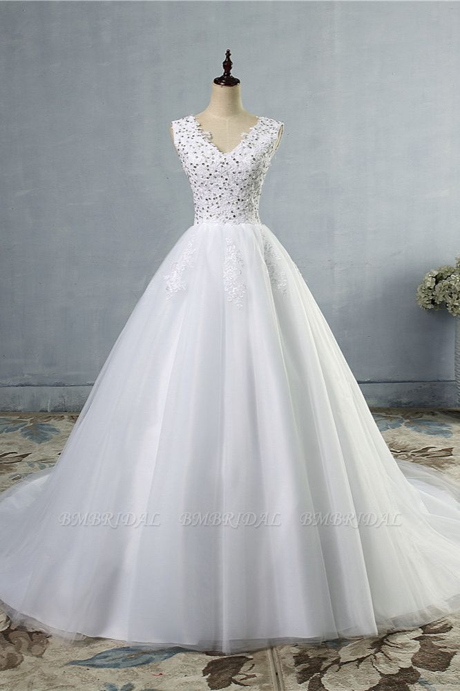 Stunning V-Neck Sequins Tulle Wedding Dresses A-Line Lace Appliques Bridal Gowns Online