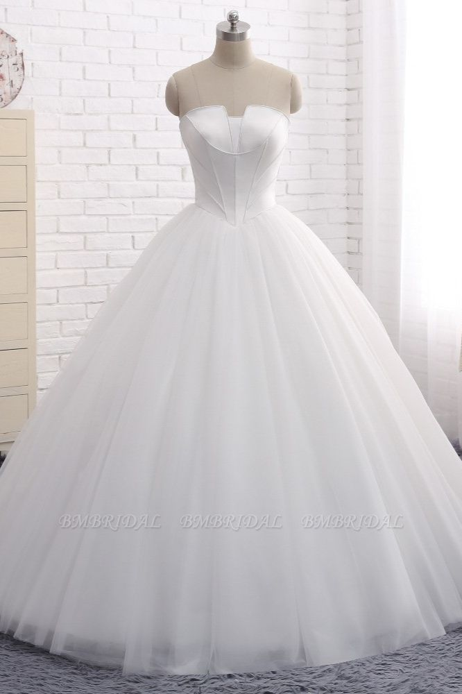 BMbridal Chic Ball Gown Strapless White Tulle Wedding Dress Sleeveless Bridal Gowns On Sale