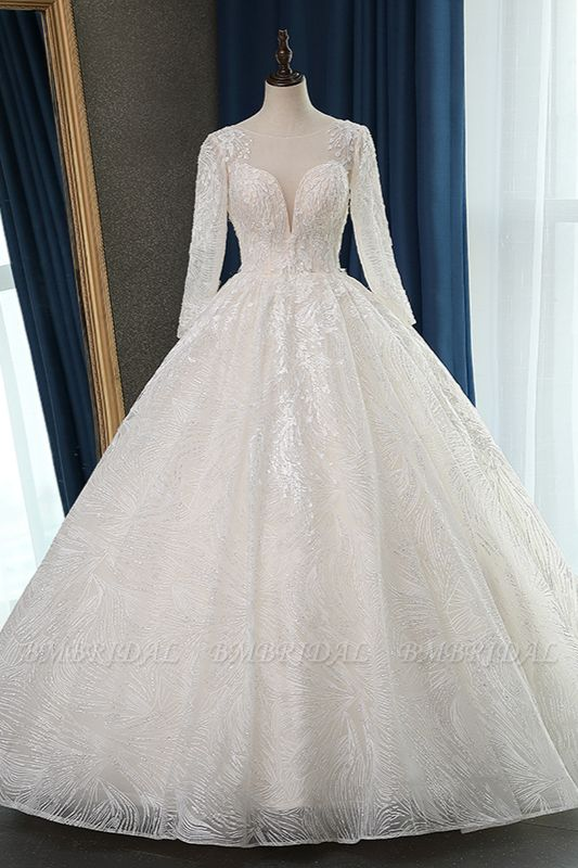 BMbridal Glamorous Ball Gown Jewel Appliques Wedding Dress Long Sleeves Bridal Gowns Online