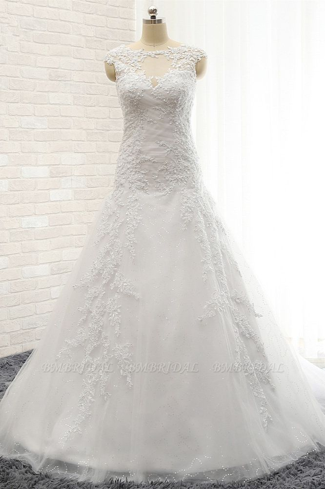 Modest Sleeveless Jewel Wedding Dresses With Appliques White Mermaid Bridal Gowns On Sale