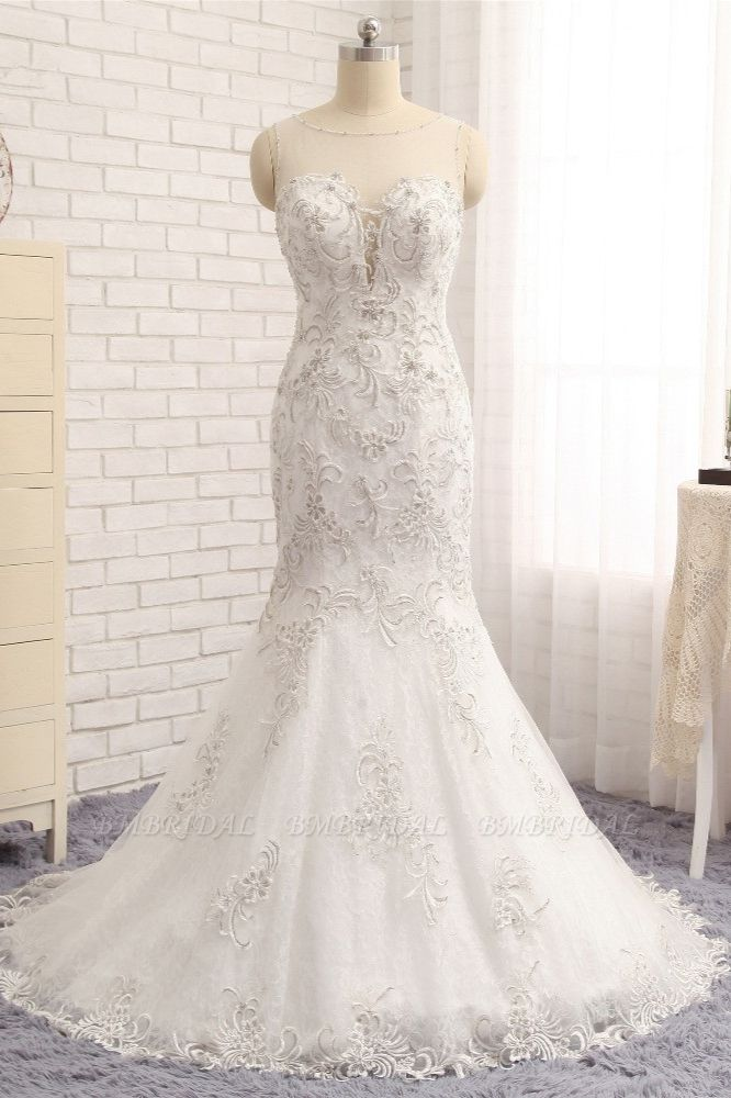 BMbridal Elegant White Sleeveless Jewel Wedding Dresses With Appliques Mermaid Lace Bridal Gowns Online