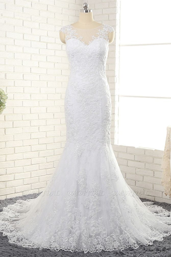 BMbridal Gorgeous White Mermaid Lace Wedding Dresses With Appliques Jewel Sleeveless Bridal Gowns Online