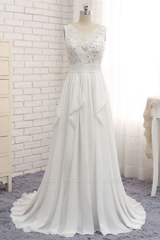 BMbridal Affordable Jewel White Chiffon Ruffle Wedding Dress Sleeveless Appliques Bridal Gowns with Beadings