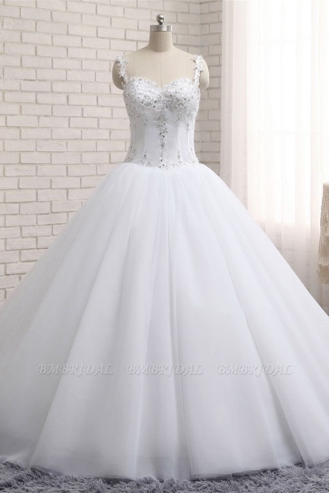 BMbridal Stunning White Tulle Lace Wedding Dress Strapless Sweetheart Beadings Bridal Gowns with Appliques