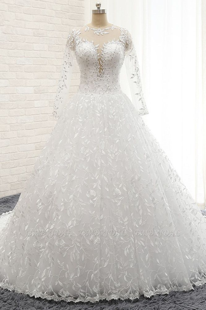 Elegant Jewel Longsleeves Lace Wedding Dresses White A-line Bridal Gowns With Appliques On Sale