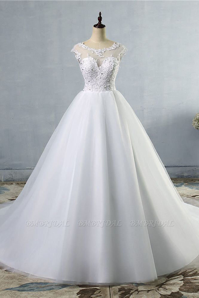 BMbridal Elegant Jewel Tulles Lace Wedding Dress Sleeveless Appliques Beadings Bridal Gowns Online