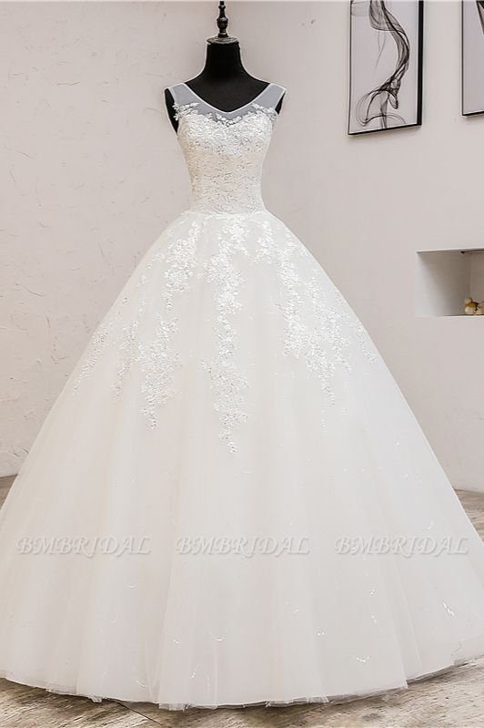 BMbridal Glamorous Sweetheart Tulle Lace Wedding Dress Ball Gown Sleeveless Appliques Ball Gowns On Sale
