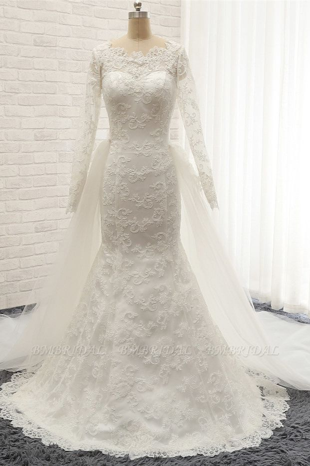 BMbridal Chic White Satin Mermaid Wedding Dresses Jewel Longsleeves With Appliques On Sale