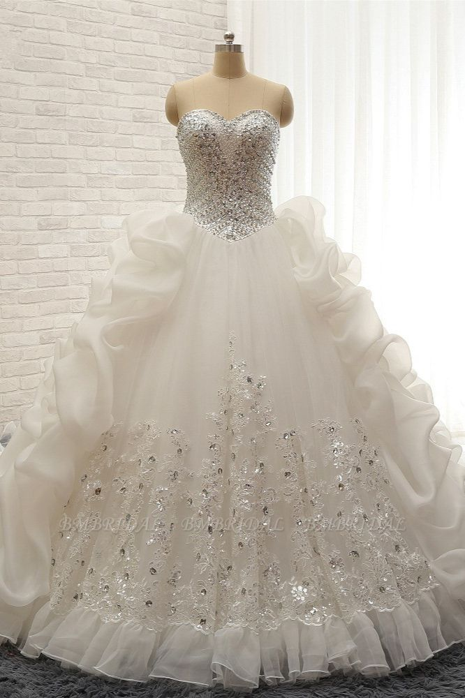 Glamorous Sweetheart White Sequins Wedding Dresses With Appliques Tulle Ruffles Bridal Gowns Online