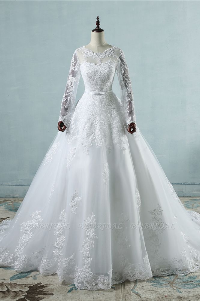 BMbridal Elegant Jewel Tulle Lace Wedding Dress Long Sleeves Appliques A-Line Bridal Gowns On Sale