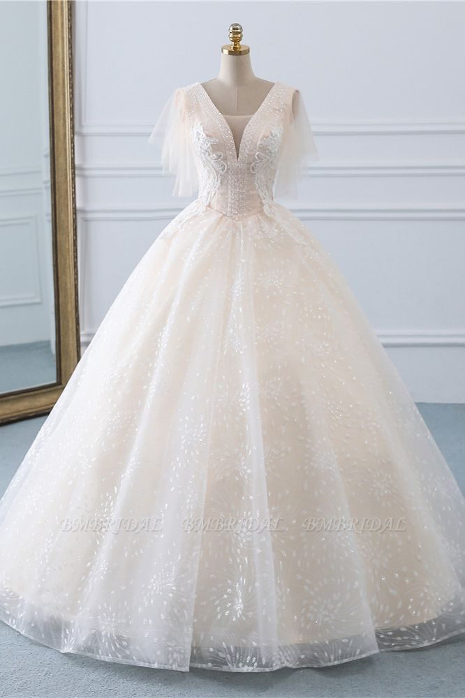 BMbridal Gorgeous Ball Gown V-Neck Tulle Beadings Wedding Dress Rhinestones Appliques Bridal Gowns with Short Sleeves On Sale