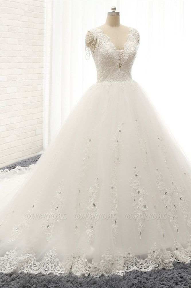 Glamorous V neck Straps White Wedding Dresses With Appliques A line Sleeveless Tulle Bridal Gowns Online
