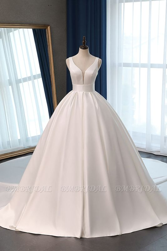 BMbridal Sexy Deep-V-Neck Straps Satin Wedding Dress Ball Gown Ruffles Sleeveless Bridal Gowns Online