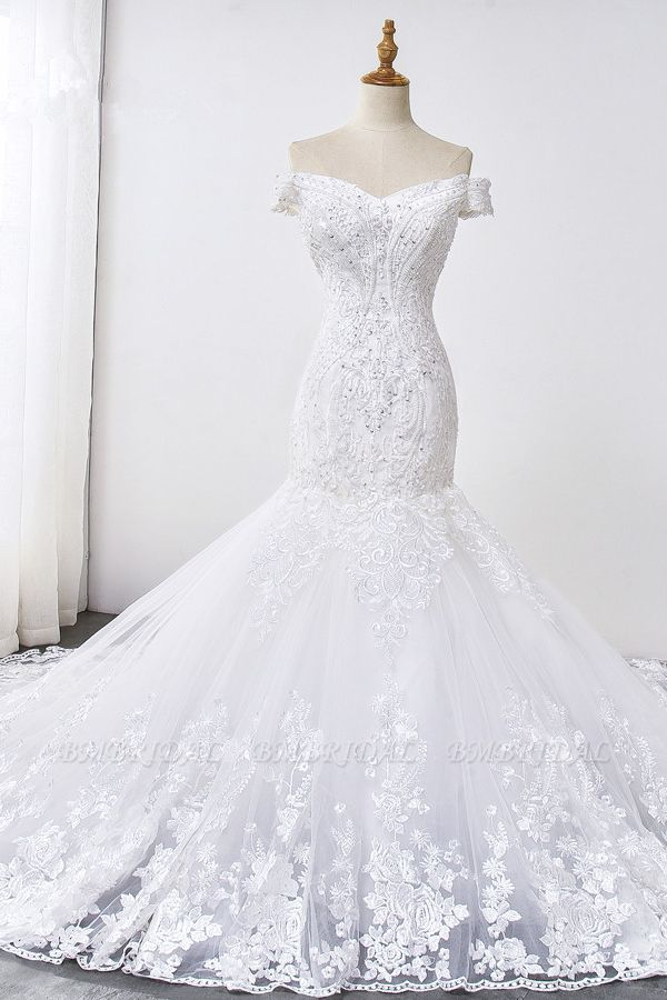 Gorgeous Off-the-Shoulder Mermaid White Wedding Dress Sweetheart Sleeveless Appliques Bridal Gowns with Rhinestones On Sale