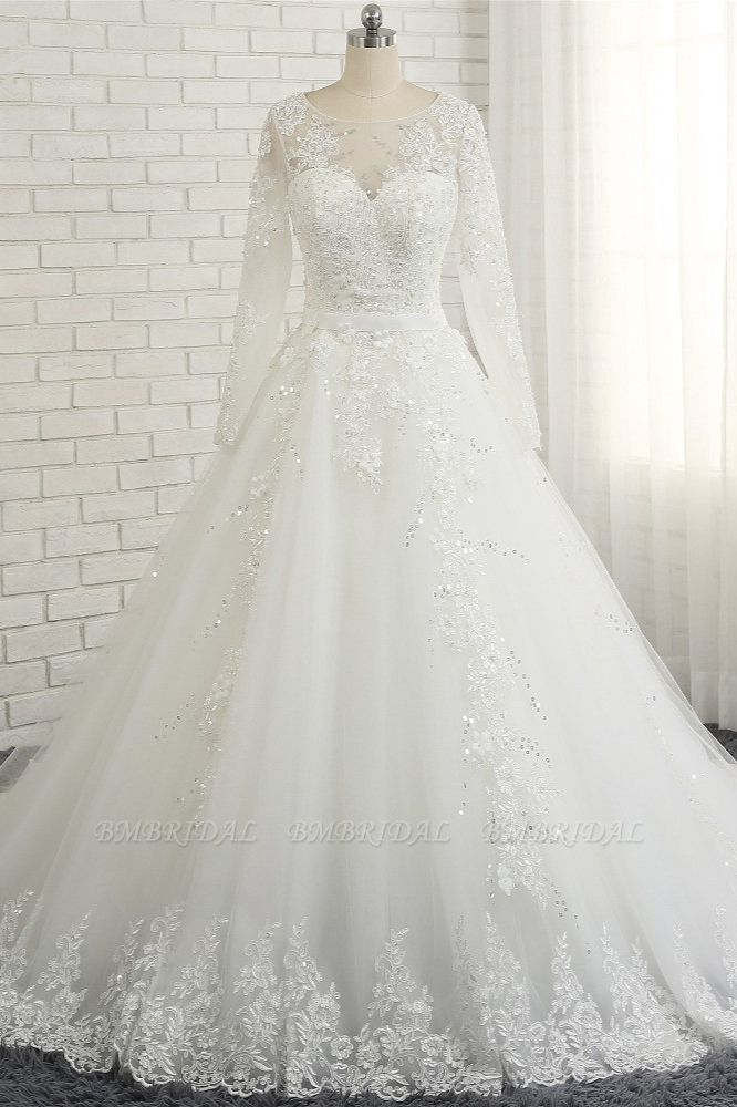 Modest Jewel Longsleeves White Wedding Dresses A-line Tulle Ruffles Bridal Gowns On Sale