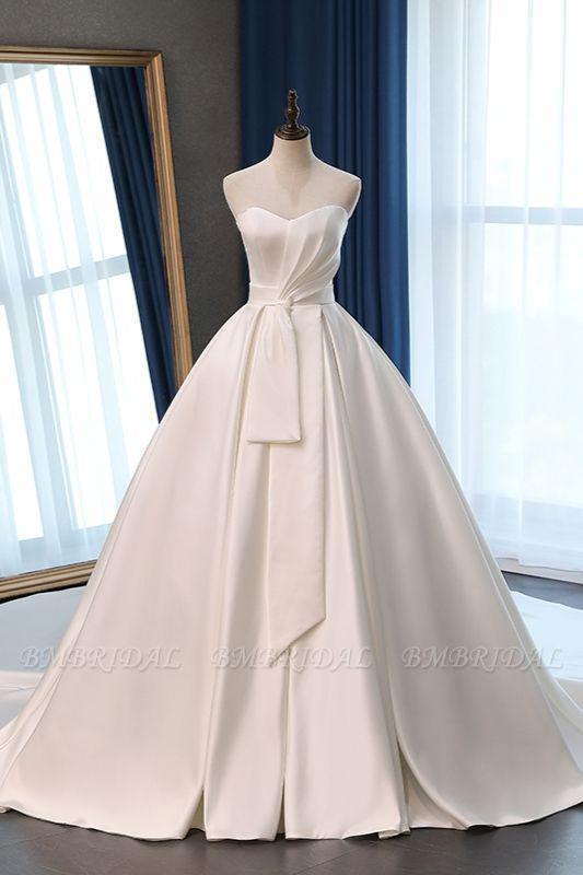 Elegant Sweetheart White Satin Wedding Dress A-line Ruffles Bridal Gowns On Sale