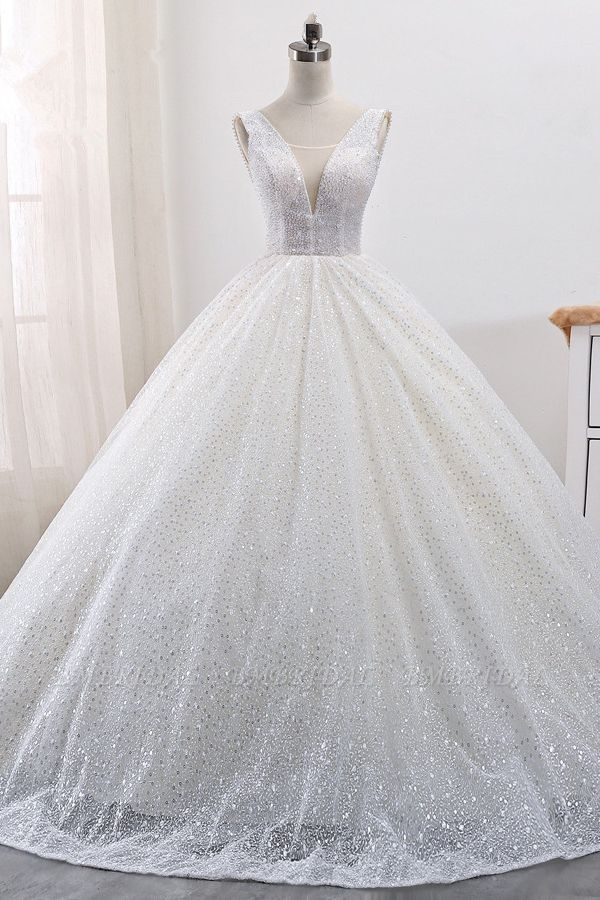 BMbridal Gorgeous Tulle V-Neck Ball Gown Wedding Dress Sparkly Sequined Sleeveless Bridal Gowns On Sale