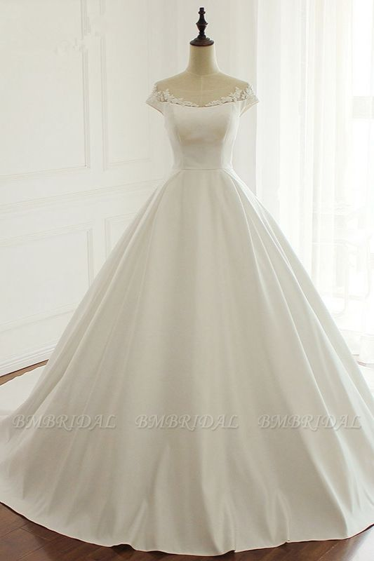 Simple A-Line Satin Jewel Ruffle Wedding Dress Tulle Lace Appliques Sleeveless Bridal Gowns On Sale