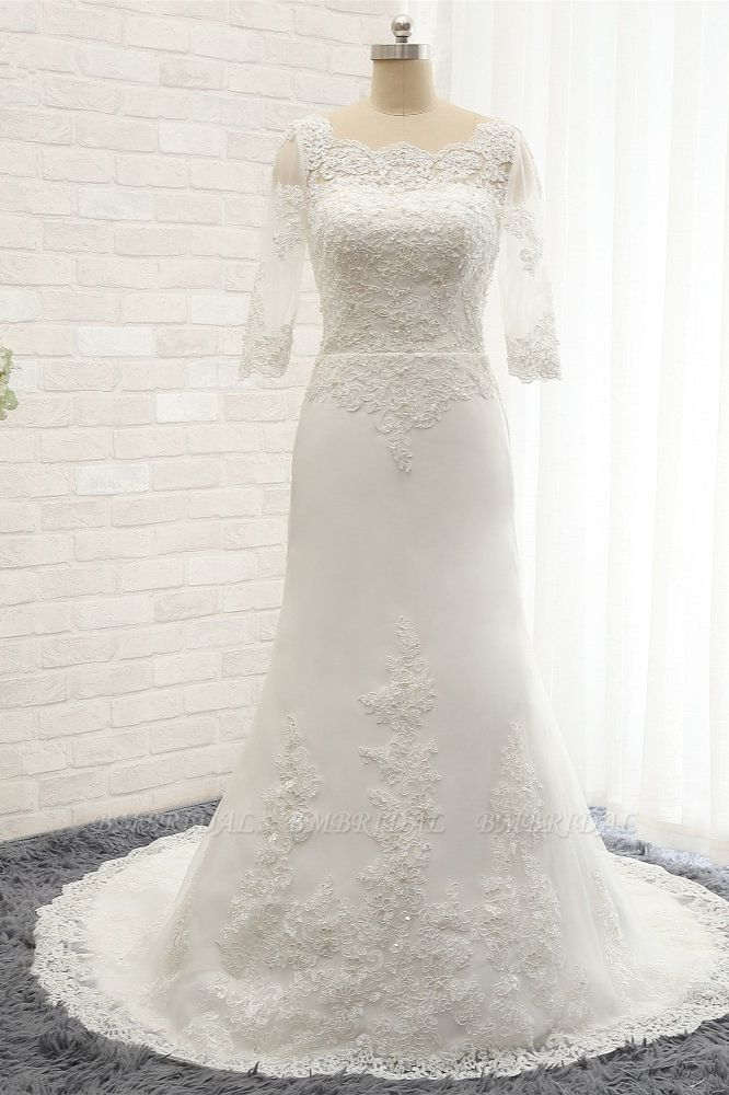 Affordable Jewel White Tulle Lace Wedding Dress Half Sleeves Appliques Bridal Gowns Online